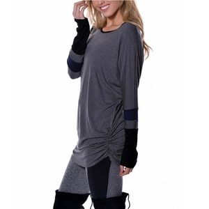 Tops - Heather Charcoal & Black Ruched Long Sleeve Tunic